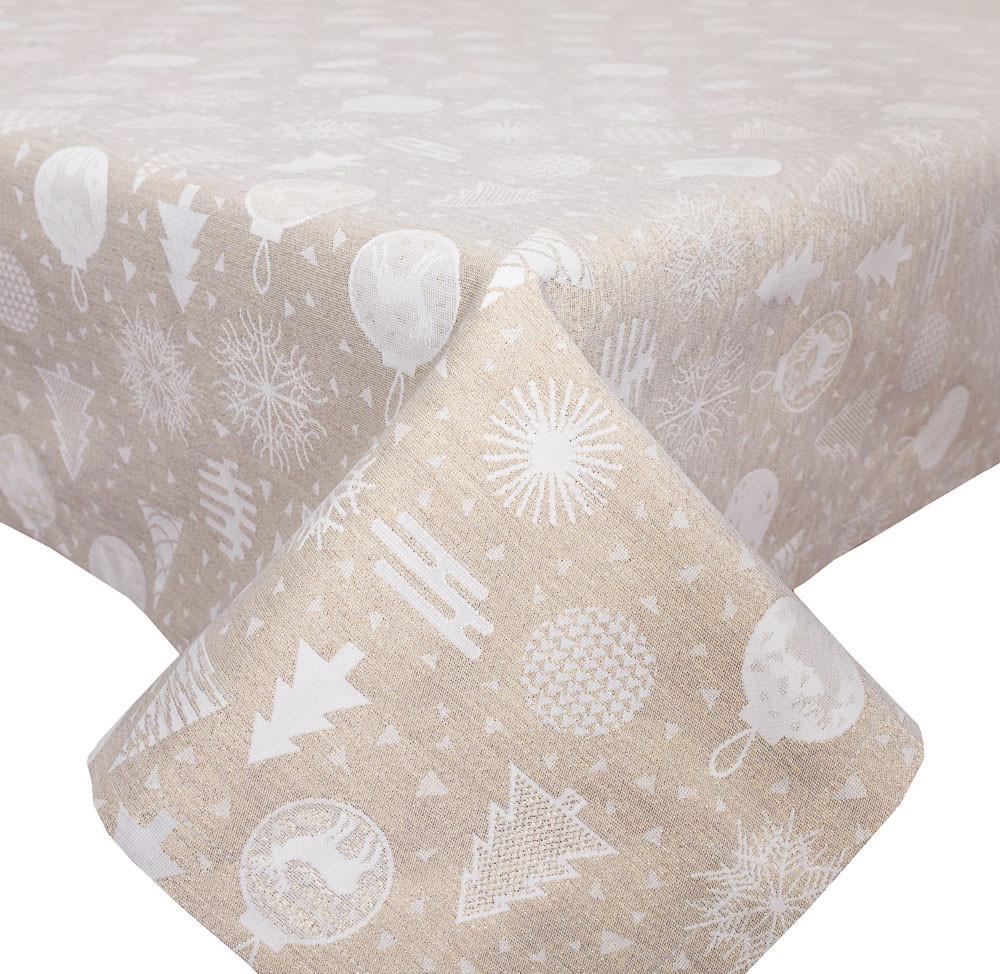 Скатертина новорічна, тканинна двостороння з люрексом 137 х 240 см скатертина новорічна