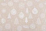 Скатертина новорічна, тканинна двостороння з люрексом 137 х 240 см скатертина новорічна, фото 3
