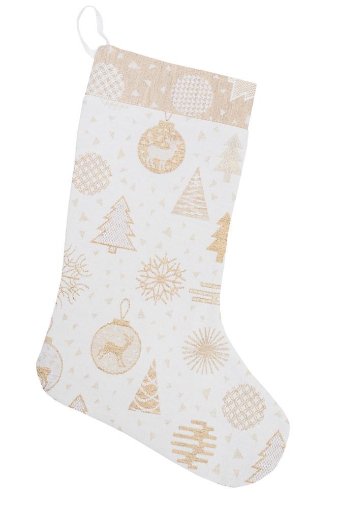 Сапожок новогодний для подарков белый 25х37 см чобіток для подарунків різдвяний новорічний
