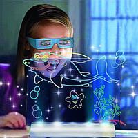 Светящаяся электронная доска для рисования, 3D доска для рисования Magic Drawing Board, 3D набор для