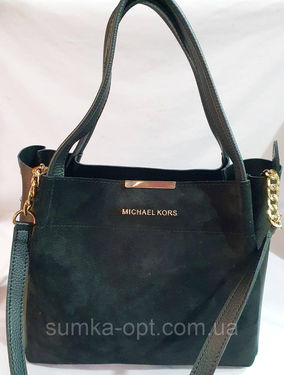 Брендовая женская сумка Michael Kors черная 32*29 см (натуральная замша)