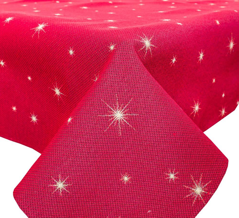 Скатертина святкова новорічна, тканинна гобеленова Зоряна Ніч 137 х 240 см гобеленова червона