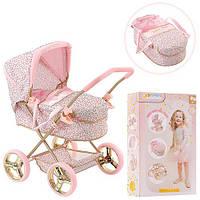 Коляска детская для кукол HAUCK D-86486 классическая люлька с багажной корзиной розовая