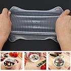 Набор универсальных крышек для хранения продуктов Stretch and Fresh, силиконовые пленки-крышки, фото 7