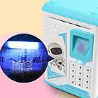 Электронная Копилка сейф с отпечатком пальца и кодовым замком «Электронный сейф» + купюроприемник | Blue, фото 6