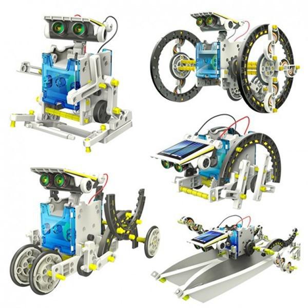 Робот конструктор Solar Robot 14 в 1 электрический робот на солнечной батарее, игрушка с моторчиком