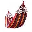 Гамак для сада 200х150 см подвесной, хлопковый, с планкой до 180 кг, гамак мексиканский, гамак летний, фото 3