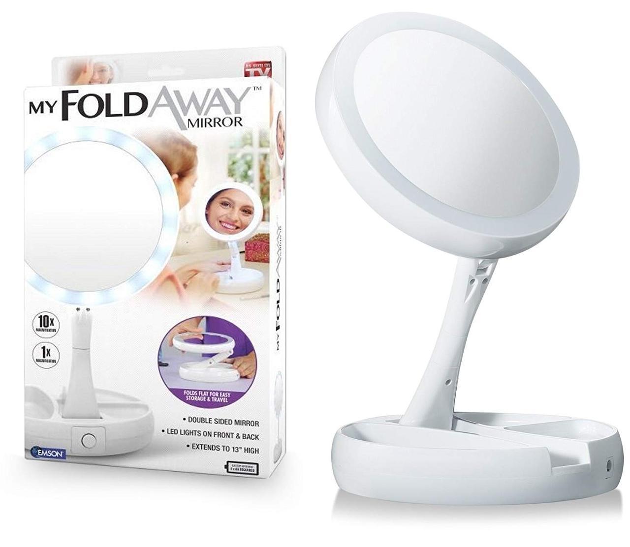 Круглое зеркало с LED подсветкой для макияжа обычное +10-ти кратное увеличение My Fold Away Mirror, цвет белый