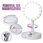 Круглое зеркало с LED подсветкой для макияжа обычное +10-ти кратное увеличение My Fold Away Mirror, цвет белый, фото 2