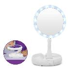 Круглое зеркало с LED подсветкой для макияжа обычное +10-ти кратное увеличение My Fold Away Mirror, цвет белый, фото 3