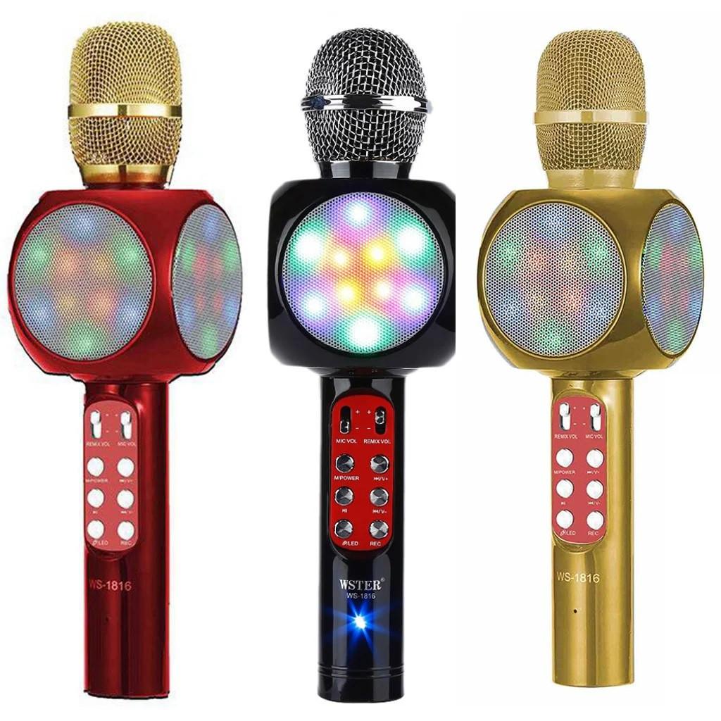 Караоке микрофон WSTER 1816 WS со светомузыкой и записью, Блютуз микрофон