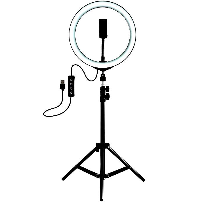 Кольцевая лампа 24см с держателем, круглая лед лампа с держателем, кольцо светодеодное (без штатива)