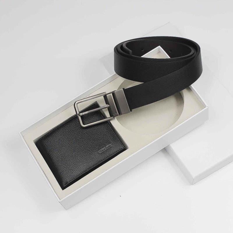 Мужской подарочный набор Кельвин Кляйн ремень, портмоне