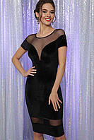 Облегающее вечернее платье из велюра с глубоким декольте