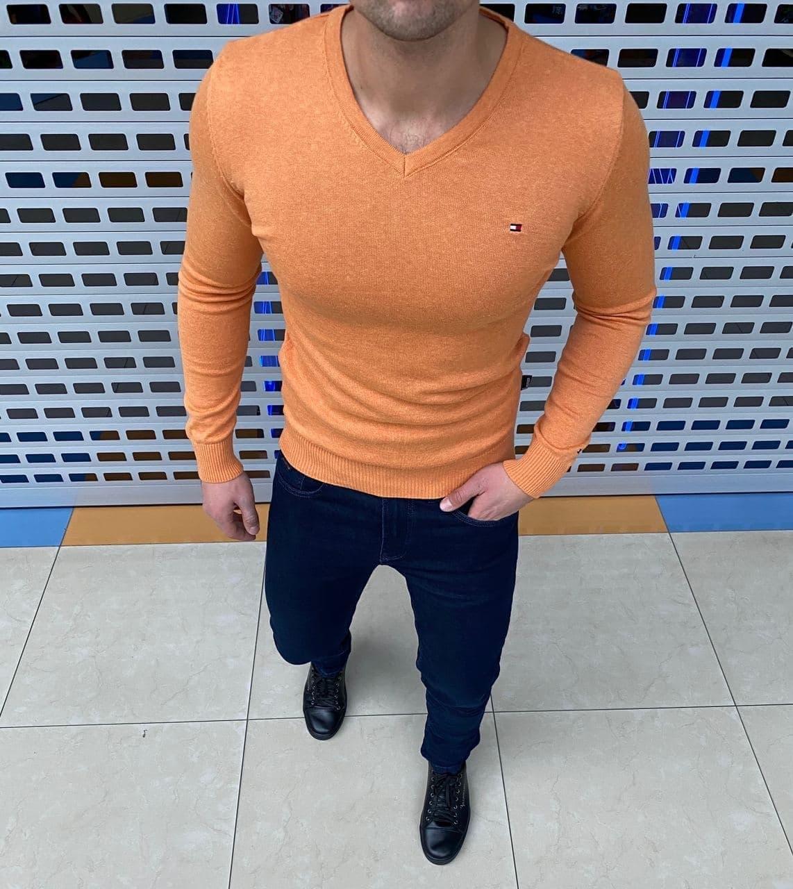 Мужская кофта Tommy Hilfiger H1134 оранжевая
