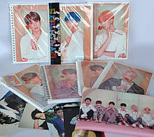 """Набір """"BTS"""": Скетчбук, листівки, брелок, лінійка, пенал"""