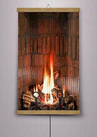 Пленочный инфракрасный обогреватель Огонь в камине 100х60 см