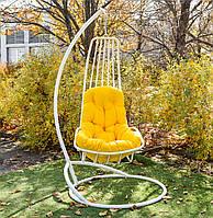 Підвісне крісло, подвесное кресло, кресло кокон, садовая качеля, крісло кокон Дели белая