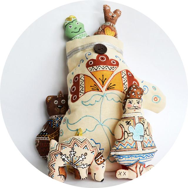 Рукавичка - набор елочных игрушек ручной работы