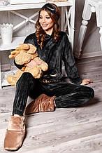 Жіночий домашній м'який плюшевий костюм твойка. Штани і кофта з капюшоном. Графітовий, чорний