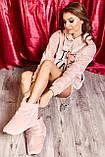 Домашні жіночому уггі, м'які плюшеві саможки, тапочки. Пудрові, ніжно-рожеві, фото 3