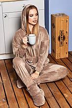 Жіночий домашній м'який плюшевий костюм твойка. Штани і кофта з капюшоном. Бежевий