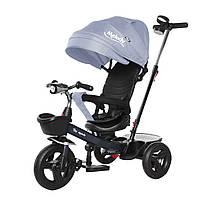 Детский трехколесный велосипед на черной раме TILLY Melody T-385 Серый музыка свет поворотное сидение