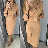 Стильное платье на запах из костюмного крепа с поясом 26-917, фото 3