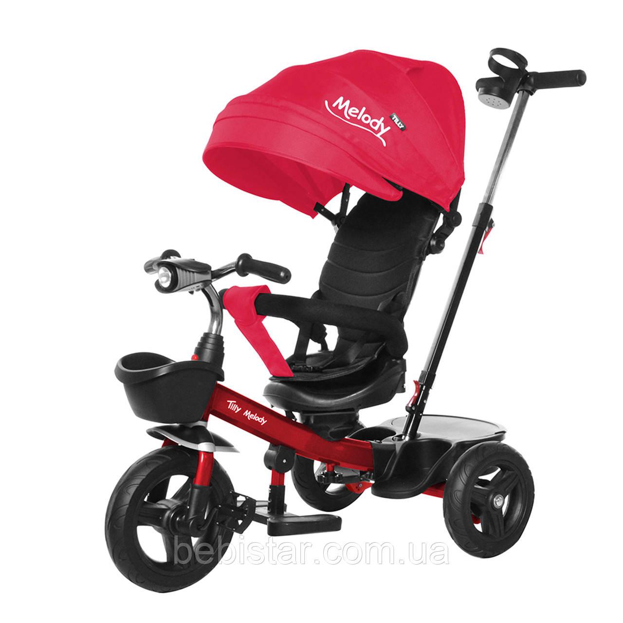 Детский трехколесный велосипед на красной раме TILLY Melody T-385 Красный музыка свет поворотное сидение