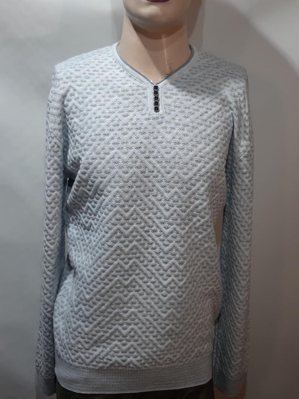 Хл, ххл р  Стильный шерстяной мужской свитер с v-образным вырезом Турция Бежевый
