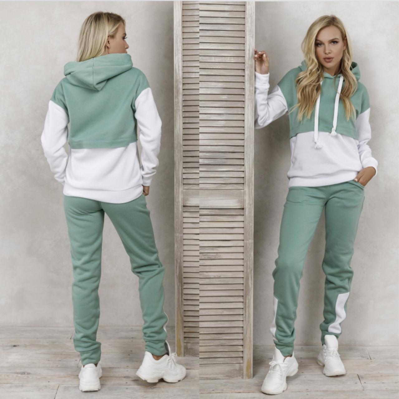 Теплый женский двухцветный спортивный костюм 35-372