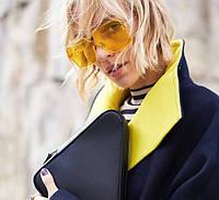 Стильные солнцезащитные очки квадраты желтые безободковые прозрачные дужки