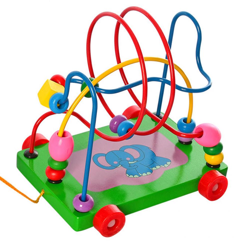 Деревянная игрушка Каталка MD 0320 лабиринт на проволоке (Слон)
