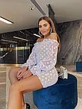 Нарядное платье из сетки на подкладе в крупный горох 39-125-2, фото 3