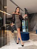 Нарядное платье из сетки на подкладе в крупный горох 39-125-2, фото 4