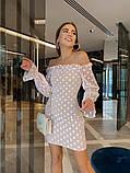 Нарядное платье из сетки на подкладе в крупный горох 39-125-2, фото 7