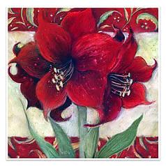 """Алмазна мозаїка Lesko DIY LG138 """"Червона квітка"""" 30х30см вишивка стразами на полотні"""