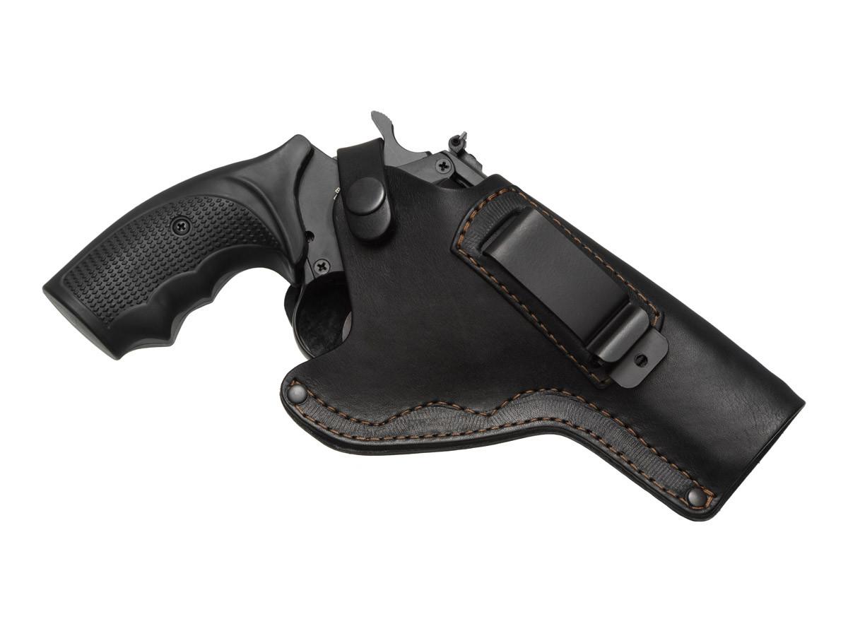 Кобура поясная Револьвер 4 не формованная с клипсой (кожа, чёрная)