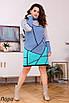 Платье вязанное длинное с геометрическим рисунком 46-56 oversize, фото 2