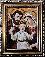 Икона из янтаря Святое Семейство і-109 15*20