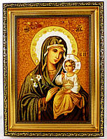 Ікона з янтаря Нев'янучий Цвіт і-62 Божої Матері 15*20