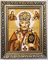 Именная икона из янтаря Николай іі-102  30*40