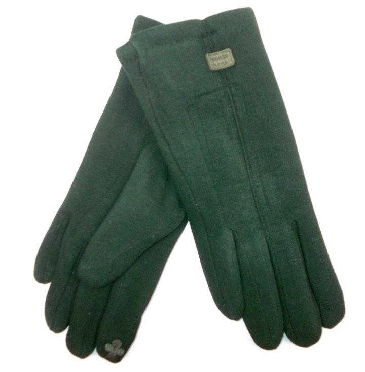 Перчатки трикотаж на меху сенсор зеленые