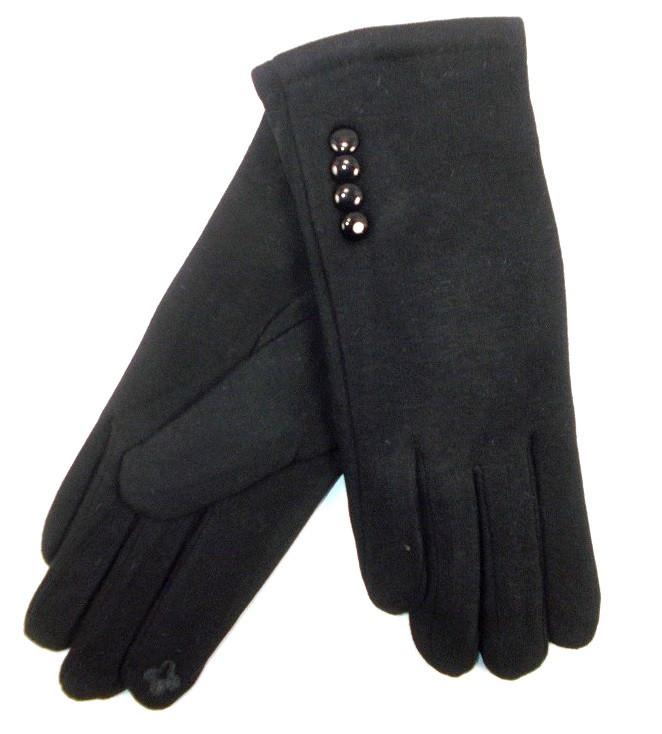 Перчатки трикотаж на меху сенсор 8 черные пуговицы