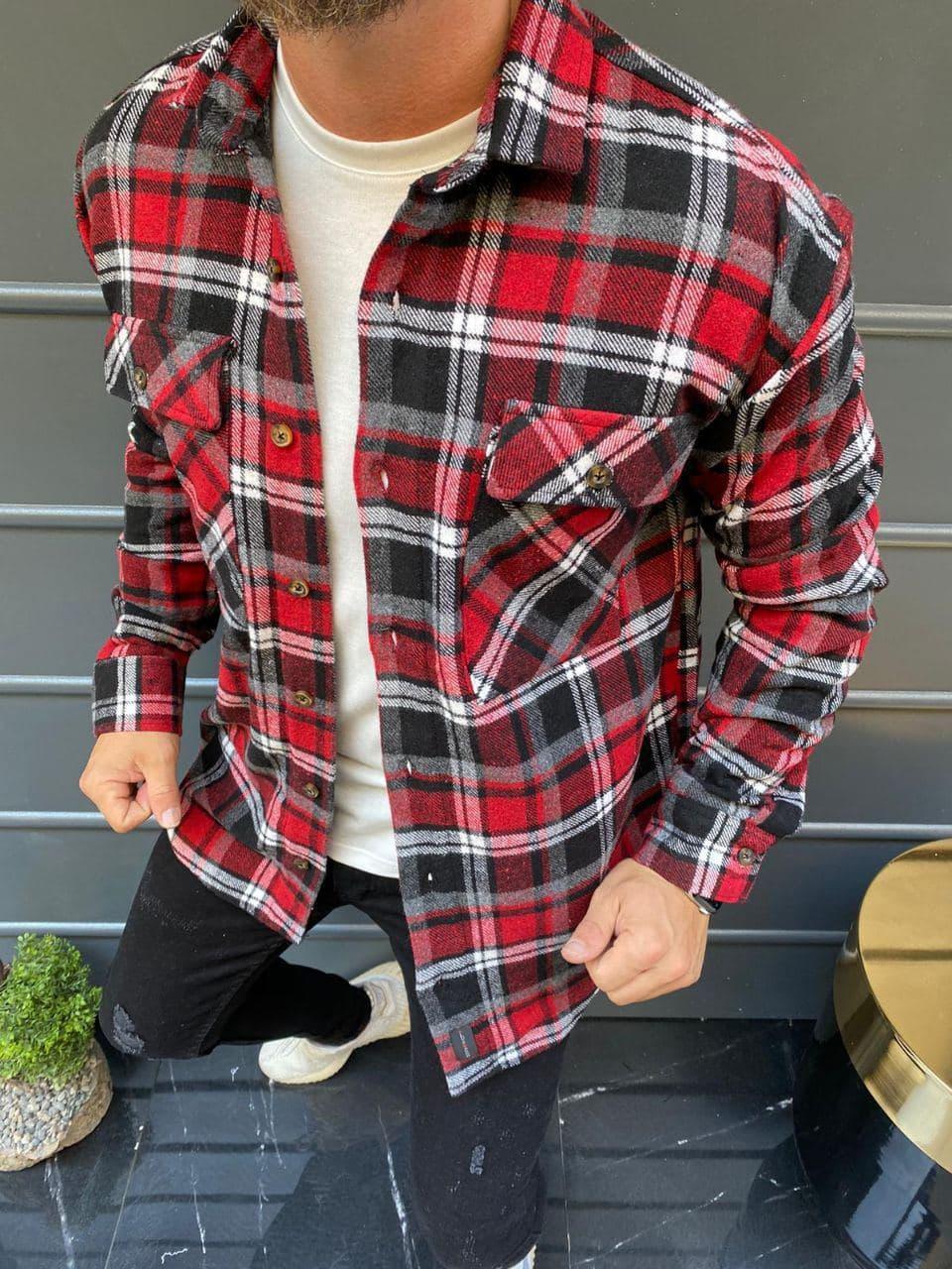 😜Сорочка чоловіча тепла сорочка на овчині в клітку