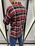 😜Сорочка чоловіча тепла сорочка на овчині в клітку, фото 3