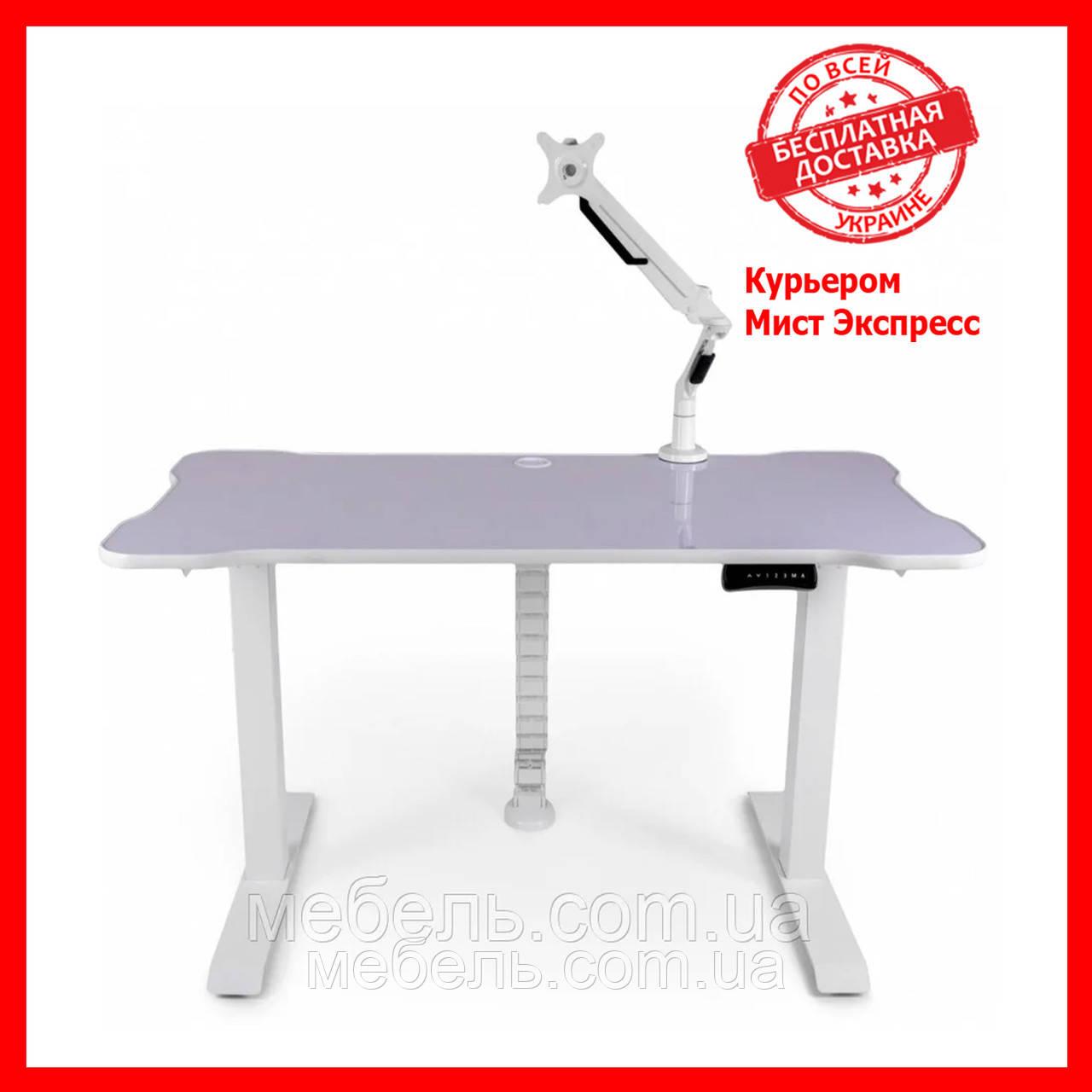 Компьютерный стол с кабель-менеджментом, кронштейном и подъёмным мех.Barsky BSUAW_el-01/BCM-02/BF-02