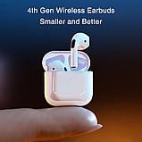 Бездротові навушники Air Pro 4 Білі в стилі Apple AirPods сенсорні з кейсом + чохол, фото 8