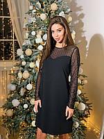 Короткое праздничное черное платье с сеткой, фото 1