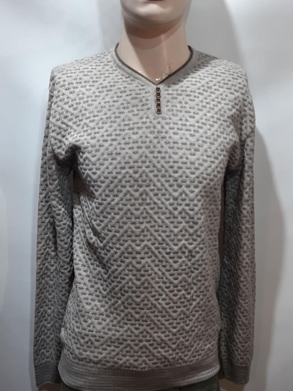 Стильный шерстяной мужской свитер с v-образным вырезом Турция Бежевый